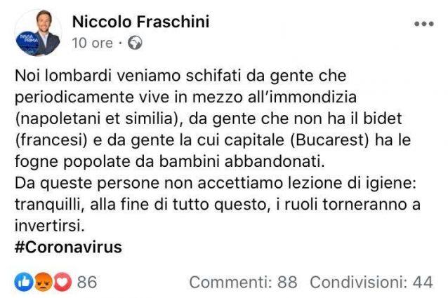 """Coronavirus, post del consigliere di Pavia contro Napoli: """"N"""