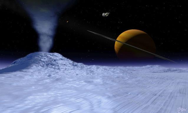 Rappresentazione artistica della superficie di Encelado, con un caratteristico geyser