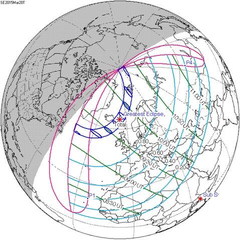 Foto NASA dell'eclissi, con l'area di totalità in evidenza e le diverse regioni che saranno investite dal fenomeno