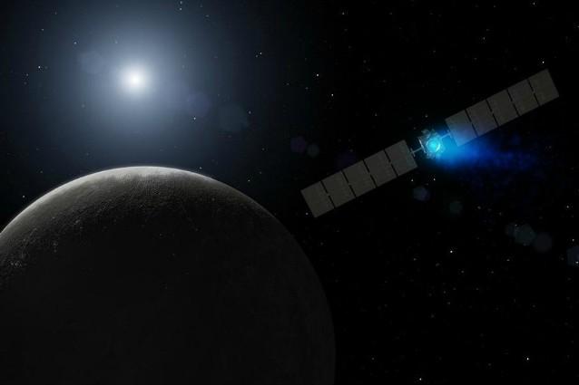 Rappresentazione artistica NASA di Dawn sulla strada del pianeta nano Cerere