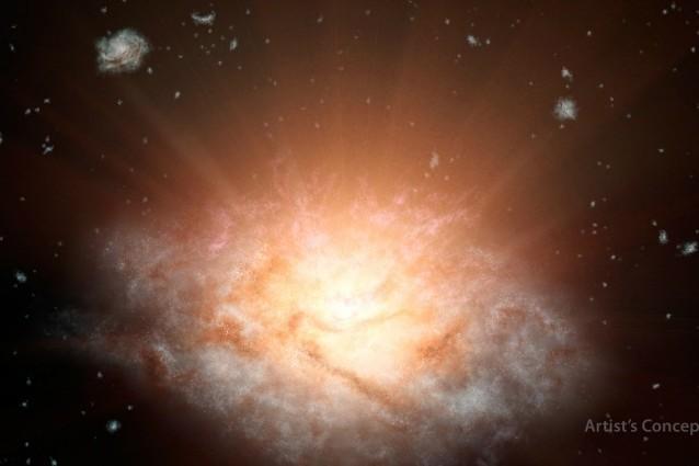 Rappresentazione artistica della galassia più luminosa dell'Universo (Image credit: NASA/JPL–Caltech)