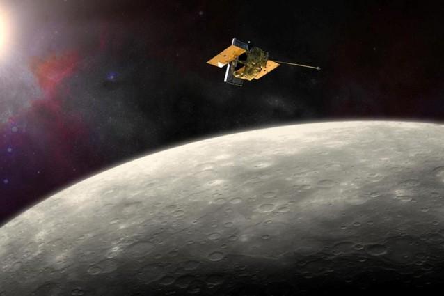 Rappresentazione artistica della sonda MESSENGER, prima del suo schianto su Mercurio