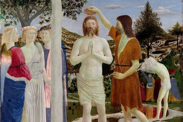 Il Battesimo di Cristo di Piero della Francesca (1445), particolare