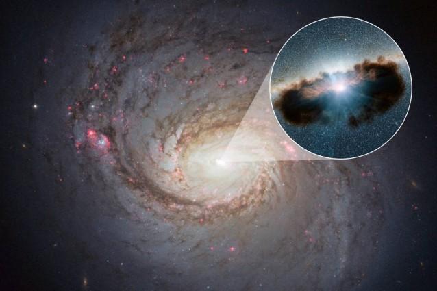 Il buco nero al centro della galassia NGC 1068 con zoom (Credits: NASA/JPL–Caltech)