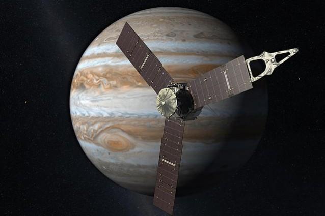 Rappresentazione artistica della sonda Juno con Giove sullo sfondo