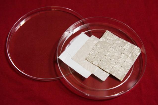 I ricercatori di Stanford hanno iniziato con dei fogli di polietilene, modificati poi con una serie di trattamenti chimici (Image credit: L.A. Cicero)