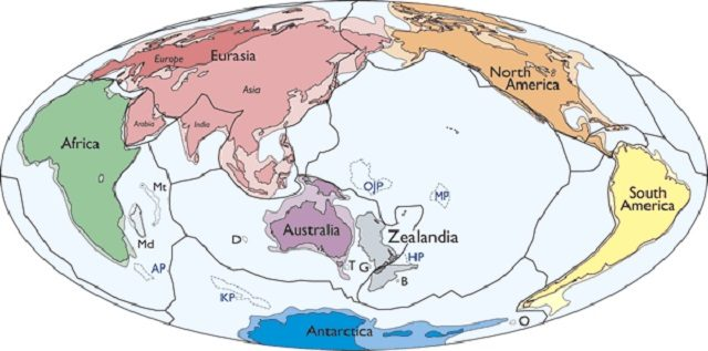 Una mappa che mette in confronto l'estensione della Zealandia con gli altri continenti: immagine di