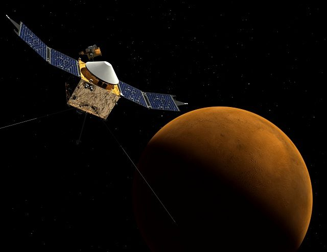 La sonda MAVEN orbita attorno a Marte: illustrazione di NASA https://it.wikipedia.org/wiki/MAVEN