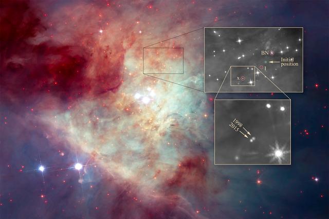 La posizione e la traiettoria delle 3 stelle espulse nella Nebulosa di Orione