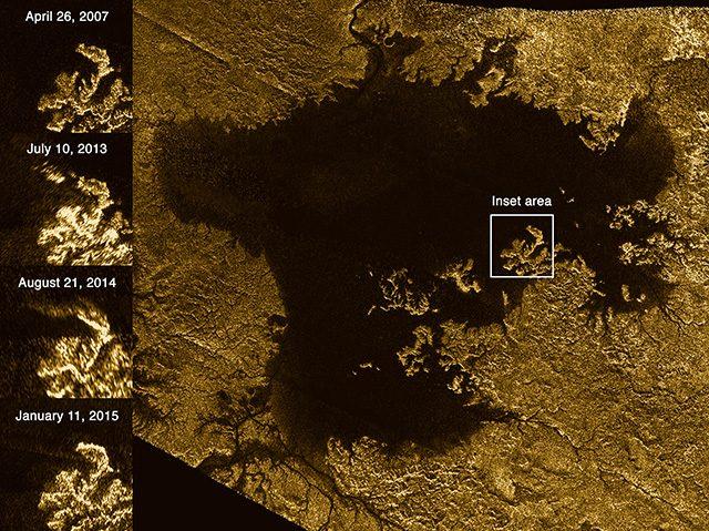 """Un'immagine della cosiddetta """"isola magica"""" su Titano"""