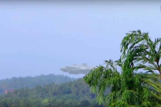"""Avvistamento ufologico tratto dal video–annuncio attribuito ad Anonymous: Sfocato e di risoluzione ridotta rispetto agli elementi attorno, scompare provvidenzialmente tra le fronde di un albero che sembrano """"cancellarlo""""."""