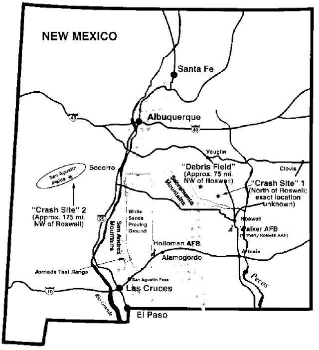 Mappa dei frammenti rinvenuti nel New Mexico.