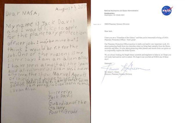 Jack, 9 anni, manda il suo curriculum 'alieno' alla NASA: 'Sono un Guardiano della Galassia'