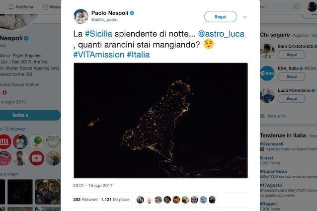 Un gelato in arrivo per Nespoli da SpaceX, ma l'astronauta italiano sogna gli arancini