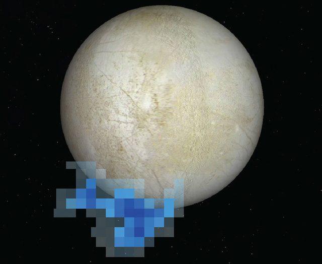L'area in cui sono stati rilevati i getti di vapore da Hubble
