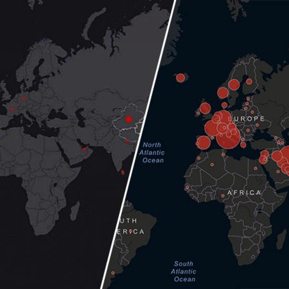 Cartina Mondo Emerso.Coronavirus Com E Cambiata La Mappa Del Contagio In Sole Cinque Settimane