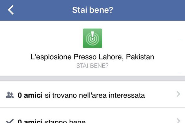 Strage a Lahore, il Safety Check di Facebook invia per errore notifiche in tutto il mondo