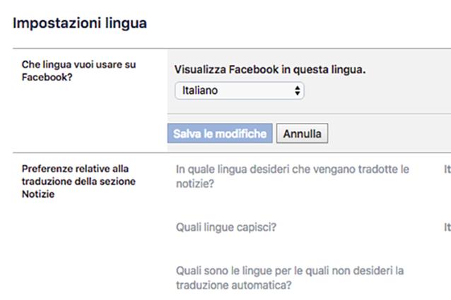 Come cambiare lingua su Facebook: la scelta dell'idioma