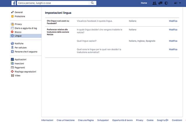 Come cambiare lingua su Facebook: le impostazioni
