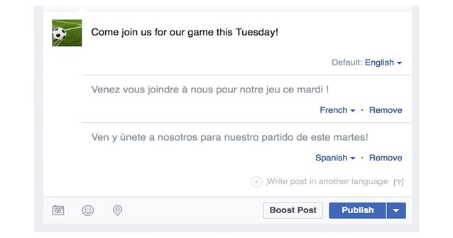 Post multilingua su Facebook