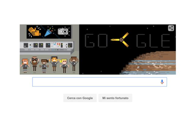 Sonda spaziale Juno, un Google Doodle per celebrare l'entrata nell'orbita di Giove