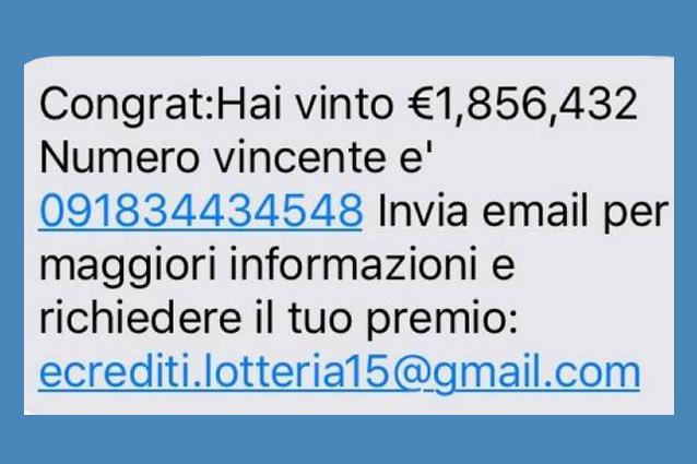 """""""Congratulazioni, hai vinto alla lotteria"""", attenzione all'SMS truffa"""