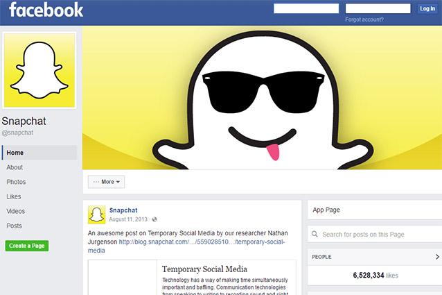 Snapchat (a sorpresa) cancella la sua pagina Facebook
