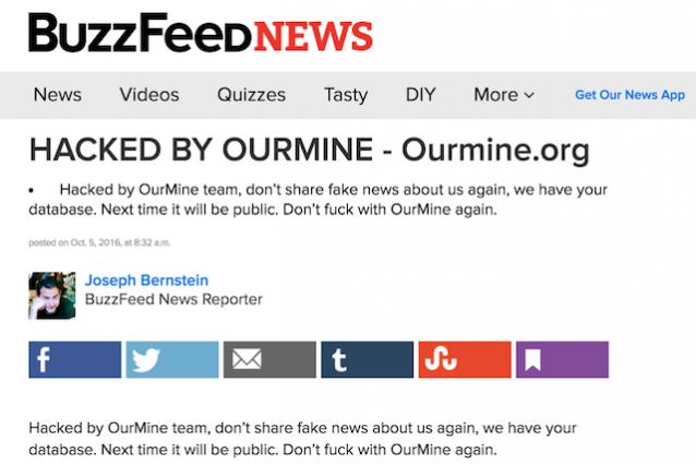 BuzzFeed vittima di un attacco hacker: i giornalisti avevano esposto un membro del gruppo OurMine