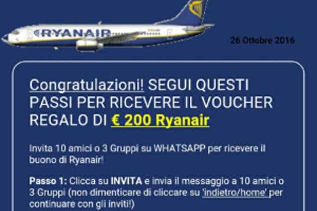 WhatsApp, attenzione alla truffa dei voli gratis e buoni sconto Ryanair
