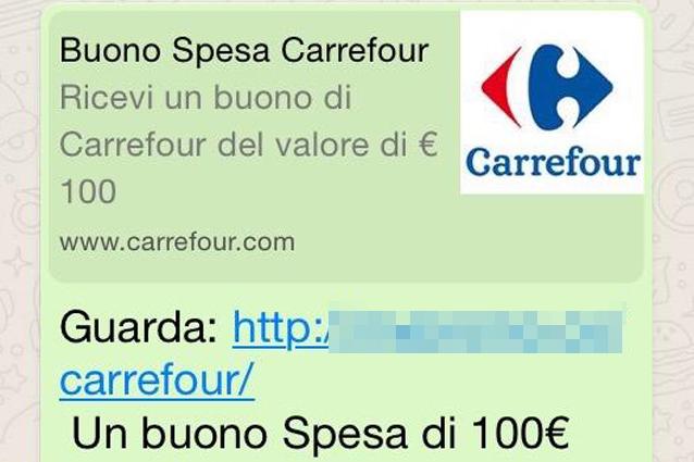 WhatsApp, attenzione alla truffa del buono spesa Carrefour