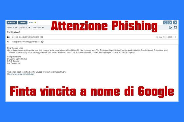 Truffe online, attenzione alla falsa mail di Google: è phishing