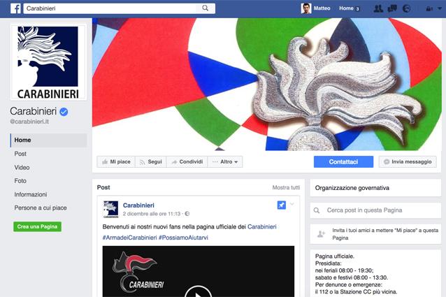 Pagina Facebook dei Carabinieri: ecco perché vi ritrovate il Mi Piace