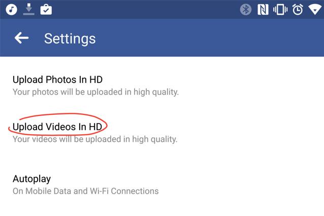 Facebook per Android permette di caricare video in HD