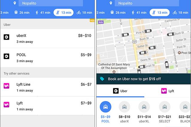 Google Maps permette di prenotare una corsa con Uber e Lyft