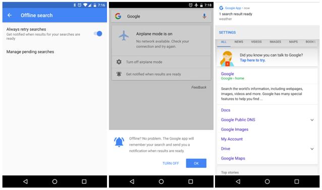 Ricerche offline su Google per Android