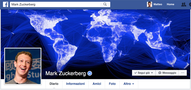 Il profilo Facebook di Mark Zuckerberg