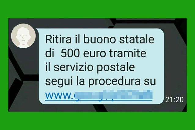 Buono statale da 500 euro, attenzione alla falsa comunicazione: è una truffa