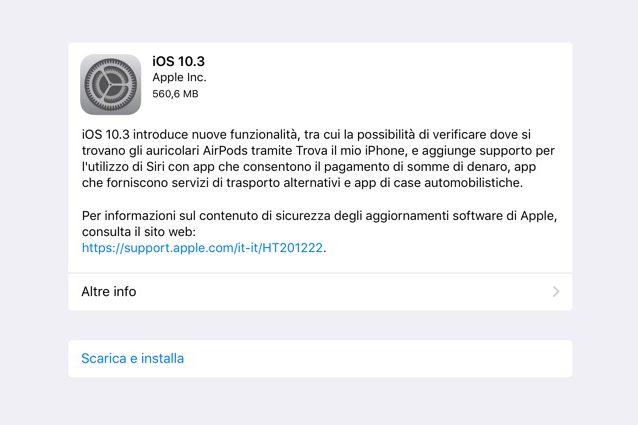 iOS 10.3 disponibile per il download su iPhone e iPad: tutte le novità