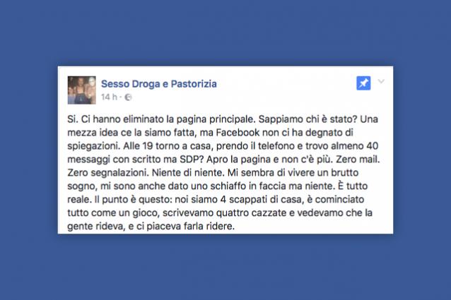"""Facebook ha chiuso la pagina """"Sesso, Droga e Pastorizia"""""""