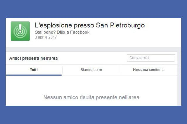 Attentato a San Pietroburgo, Facebook attiva il Safety Check