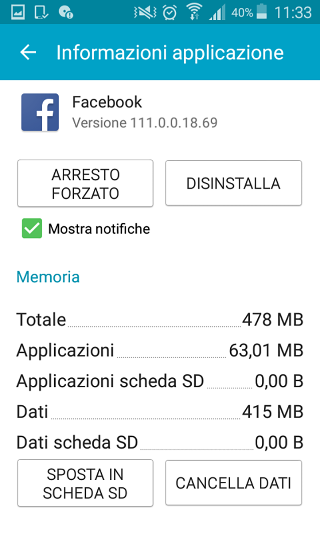 Disinstallare le app inutili da smartphone Android.