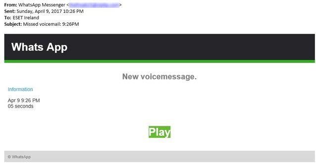 WhatsApp: nuovo virus via e-mail