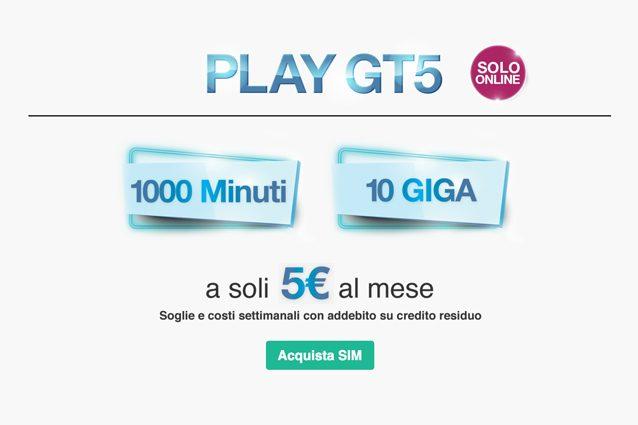 Tre PLAY GT5, la nuova offerta con 10 GB e 1000 minuti a 5 euro al mese