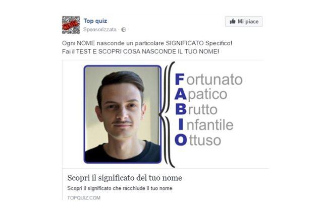"""""""Scopri il significato del tuo nome"""": attenzione alla truffa su Facebook"""