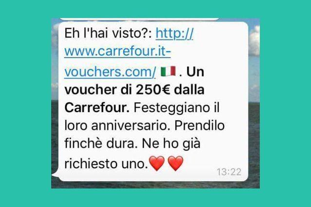 250 euro di buono spesa Carrefour: attenzione alla nuova truffa su WhatsApp