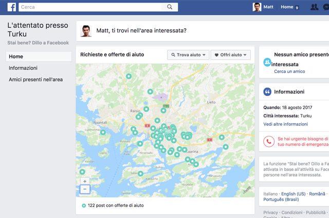 Finlandia, accoltellate persone a Turku: il Safety Check di Facebook è attivo