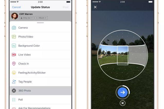 L'app Facebook consente di scattare foto a 360 gradi