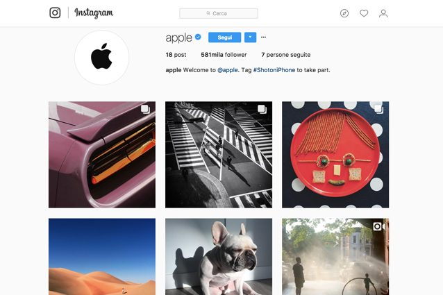 Apple ha aperto un account Instagram (con le foto degli altri)