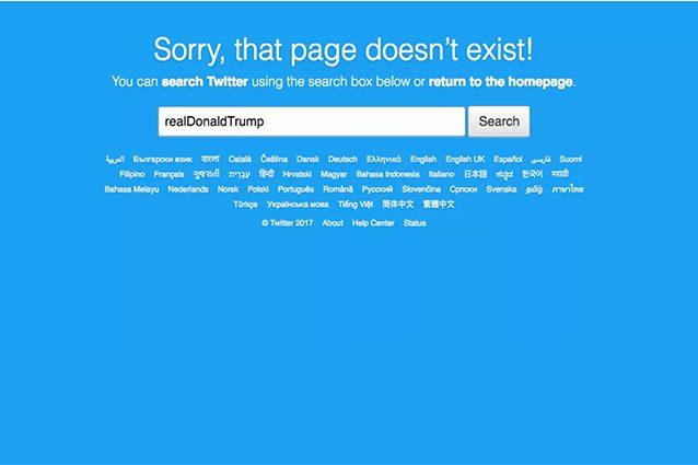 donald trump twitter account-inesistente