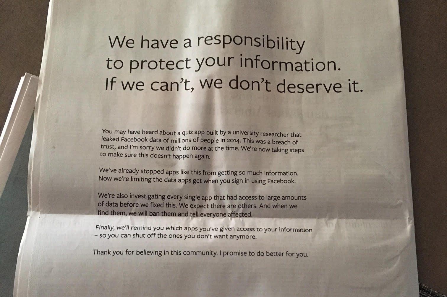 Mark Zuckerberg ha comprato una pagina dei giornali americani e inglesi per scusarsi